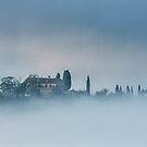 Villa in the mist, Tuscany by Vicki Moritz