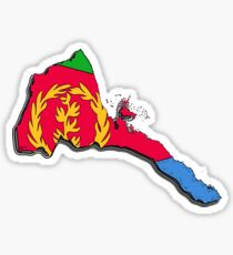 Eritrea Map with Eritrean Flag Sticker