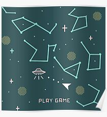 asteroids 8 bits Poster