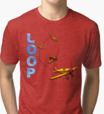 Aerobatic Airplane Loop Maneuver Tri-blend T-Shirt