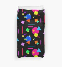 Coloured Retro (Large) Shapes 1980's - Black - 80s 80's 1980s 1980's 1980 Classic Throw Back Duvet Cover