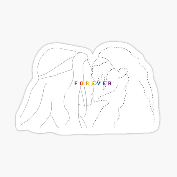 """Clexa kiss ,inscription """"forever"""" with the colour of LGBT flag :) Sticker"""