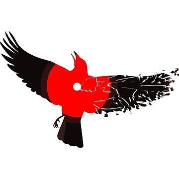 broken wing, vinyl crow  by placidplaguerat