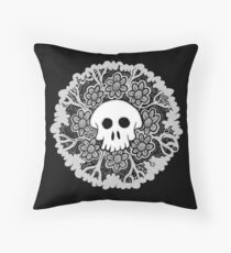 Grey Scale Skull Mandala Throw Pillow