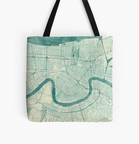 New Orleans Map Blue Vintage All Over Print Tote Bag