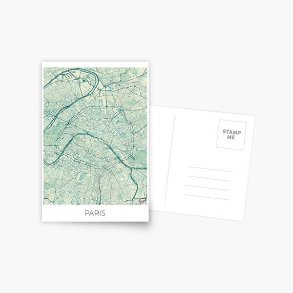 Mapa de París Vintage azul Postal
