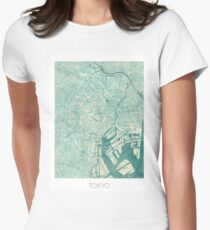 Tokyo Map Blue Vintage Women's Fitted T-Shirt