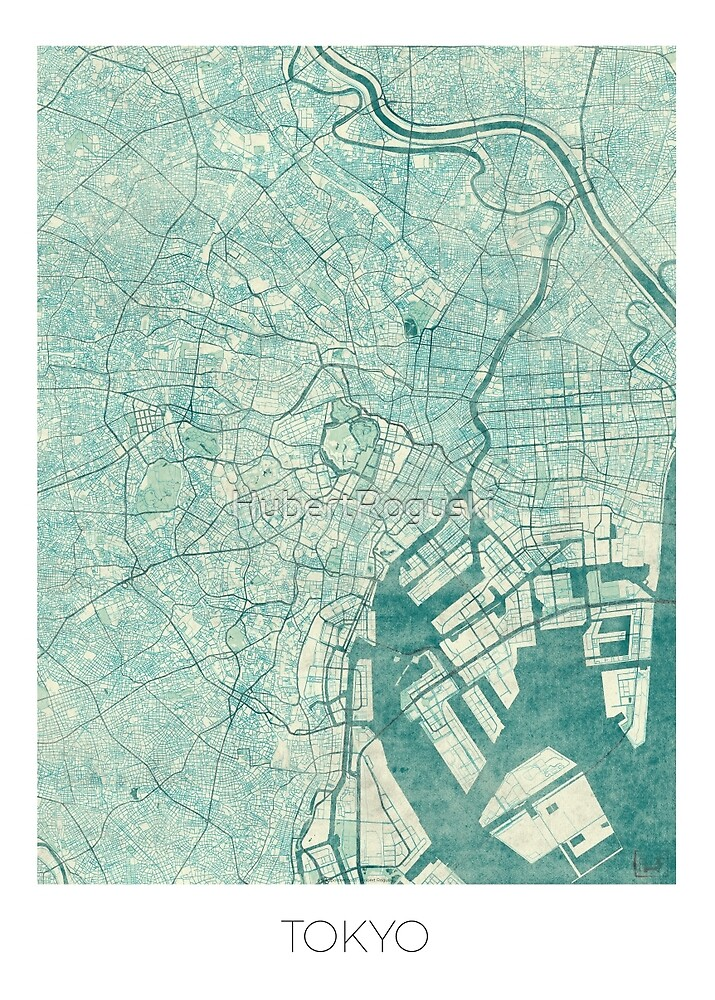 Tokyo Map Blue Vintage by HubertRoguski
