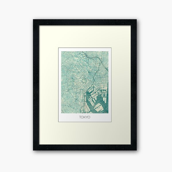 Tokyo Map Blue Vintage Framed Art Print