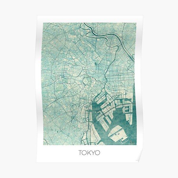 Tokyo Map Blue Vintage Poster