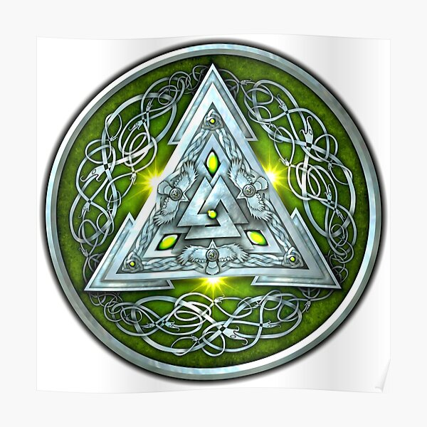 Norse Triskele Valknut Shield in Silver and Green Poster