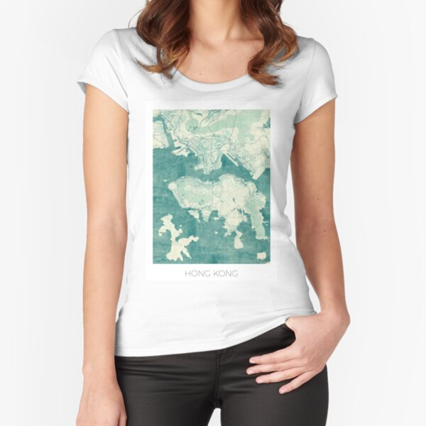 Hong Kong Map Blue Vintage Fitted Scoop T-Shirt