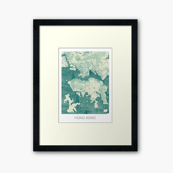 Hong Kong Map Blue Vintage Framed Art Print