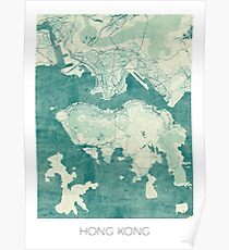 Hong Kong Map Blue Vintage Poster