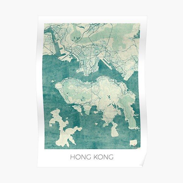 Hong Kong Map Blue Vintage Poster