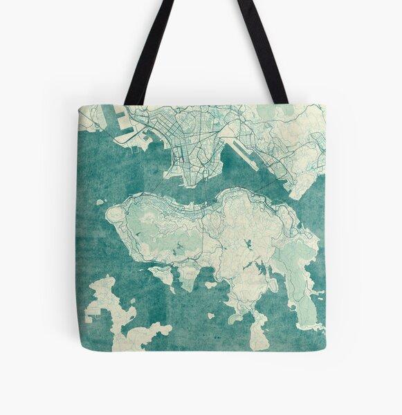 Hong Kong Map Blue Vintage All Over Print Tote Bag