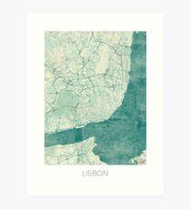 Lisbon Map Blue Vintage Art Print