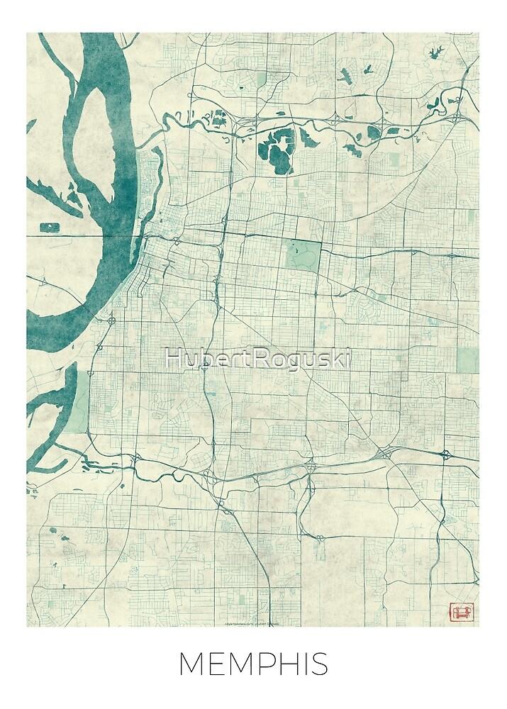 Memphis Map Blue Vintage by HubertRoguski