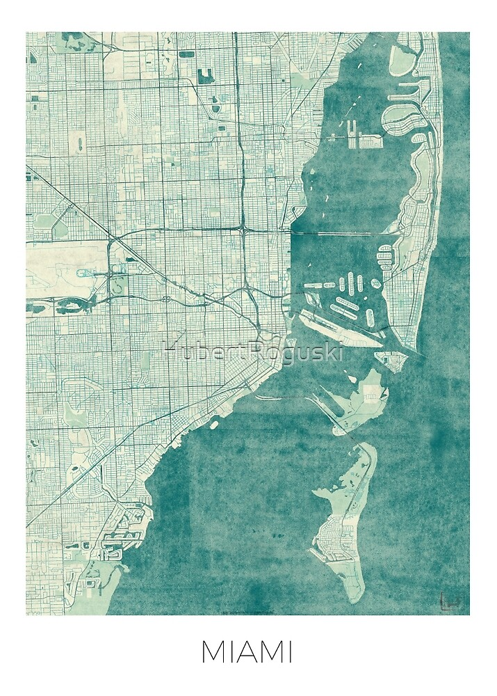 Miami Map Blue Vintage by HubertRoguski