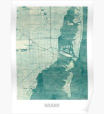 Miami Map Blue Vintage Poster