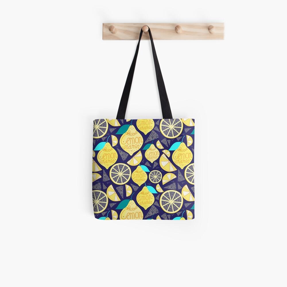 Helles Muster von Zitronen Stofftasche