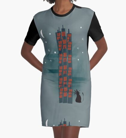 Urban Cat Graphic T-Shirt Dress