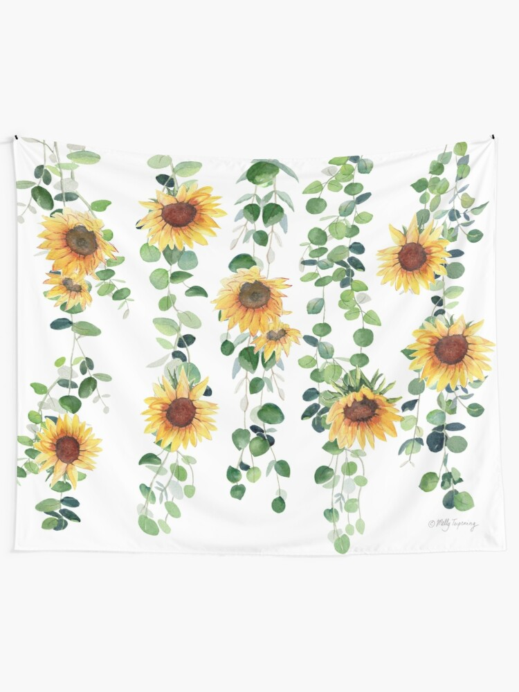 Alternate view of Eucalyptus and Sunflowers Garland Tapestry