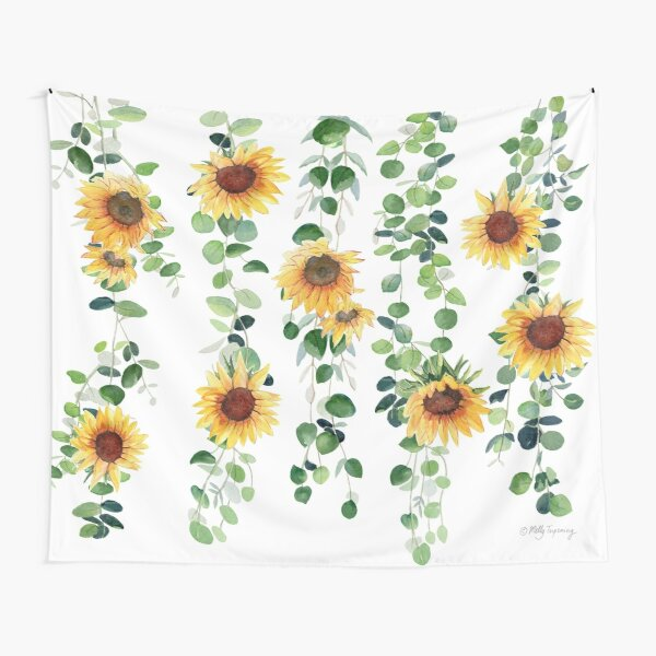 Eucalyptus and Sunflowers Garland Tapestry