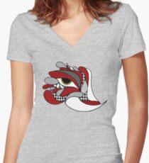 Camiseta entallada de cuello en V Alabama Elephant Hounds diente de ojos