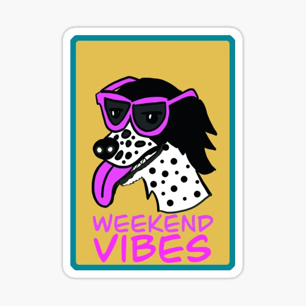Spotty Spaniel Dog with Sunglasses Weekend Vibes Sticker