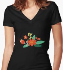 Flowers and hearts Women's Fitted V-Neck T-Shirt