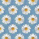 Daisy Blues - Daisy Pattern on Cornflower Blue by Tangerine-Tane