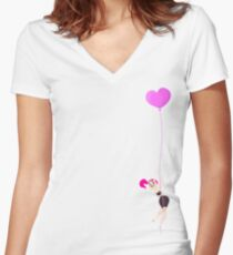 Mitzi Heart Balloon Women's Fitted V-Neck T-Shirt