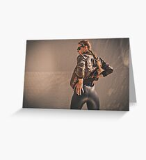 Retro Action Movie Star Greeting Card