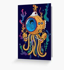 Octopod yellow Garden  Greeting Card