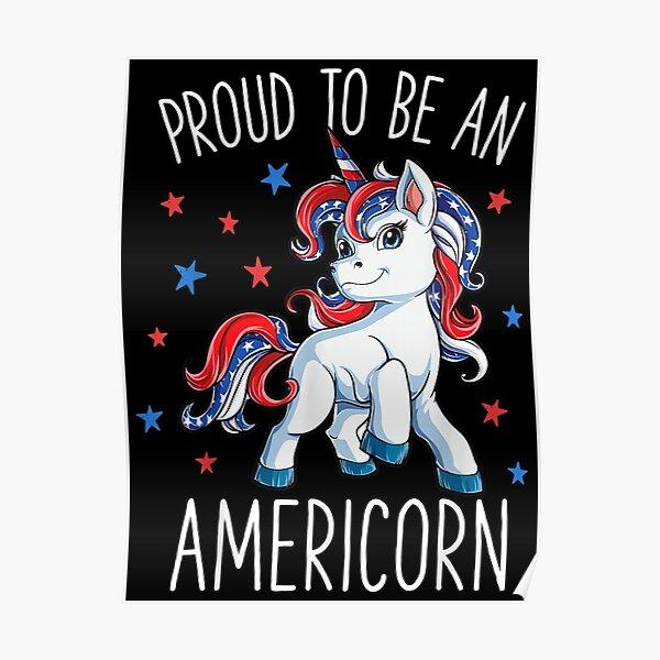 Americorn Unicorn 4th of July Poster