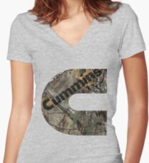 Cummins Realtree Camo Women's Fitted V-Neck T-Shirt
