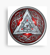 Norse Triskele Valknut Shield in Silver and Red Metal Print