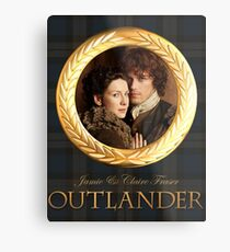 Jamie & Claire on Fraser plaid Metal Print