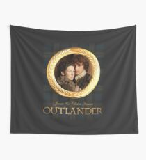 Jamie & Claire on Fraser plaid Wall Tapestry