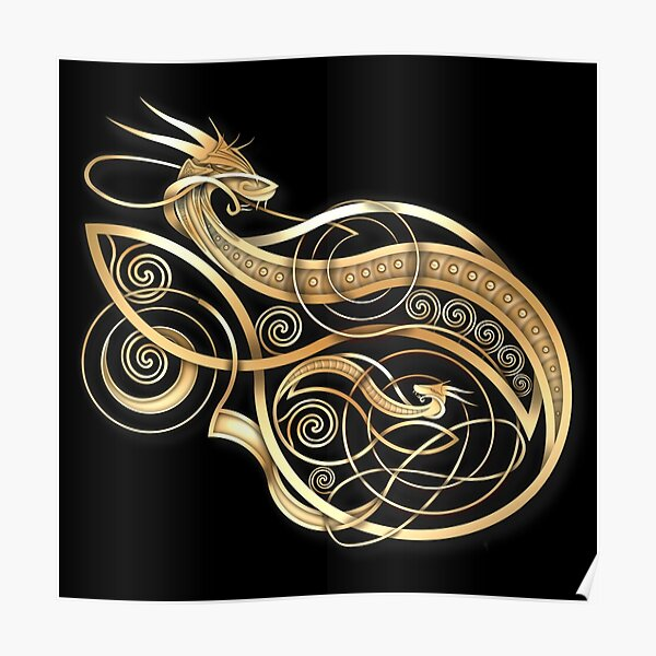 Gold Norse Dragon Poster