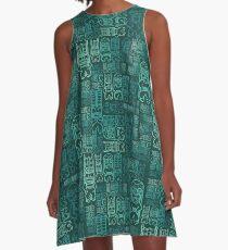 Tiki Stacks, Teal A-Line Dress