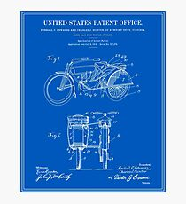 Motorcycle Sidecar Patent 1912 - Blueprint Photographic Print