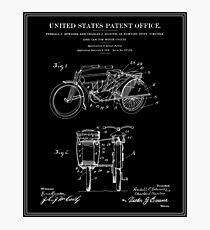 Motorcycle Sidecar Patent 1912 - Black Photographic Print