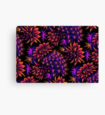 Cactus Floral - Bright Purple/Orange Canvas Print