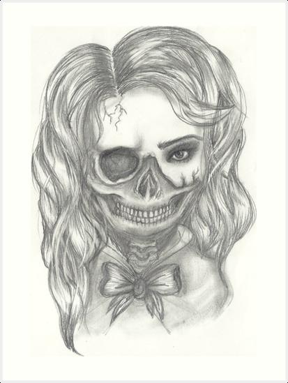 Half Skull Half Girl Art Prints By Melaniedegier Redbubble