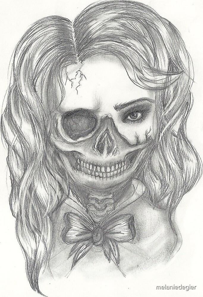 Half Skull Half Girl By Melaniedegier Redbubble