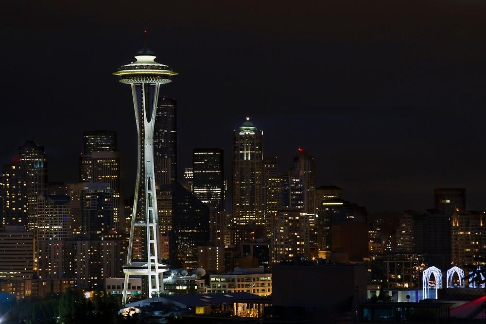 Seattle Skyline After Dark by davidgnsx1