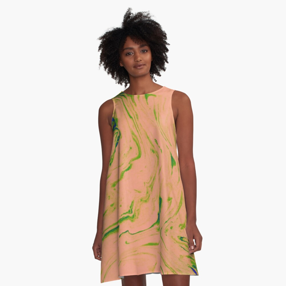 Marble Art V3 #redbubble #lifestyle A-Line Dress Front