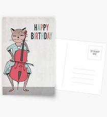 Happy Birthday - Cat plays Cello Postcards